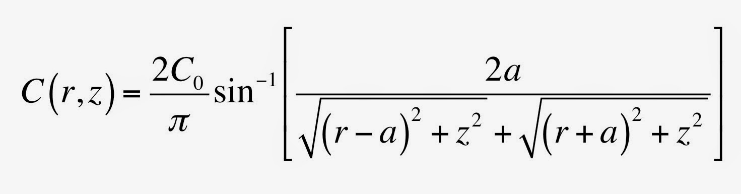 A mathematical expression for the concentration obeying the steady-state diffusion equation.