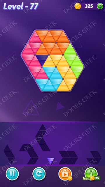 Block! Triangle Puzzle 6 Mania Level 77 Solution, Cheats, Walkthrough for Android, iPhone, iPad and iPod