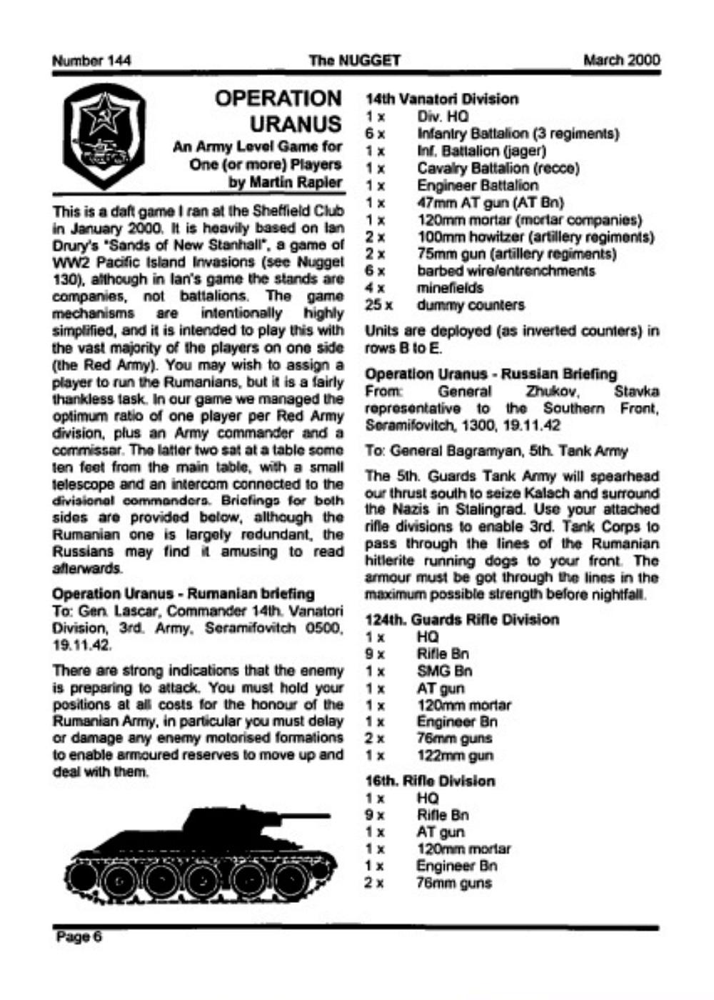 Wargaming Miscellany: Operation Uranus: A development of