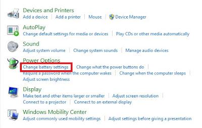 Kemudian pada opsi Power Option, Sobat klik Change Battre Setting.