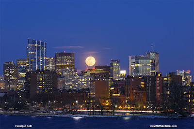 Boston moon rise photography image