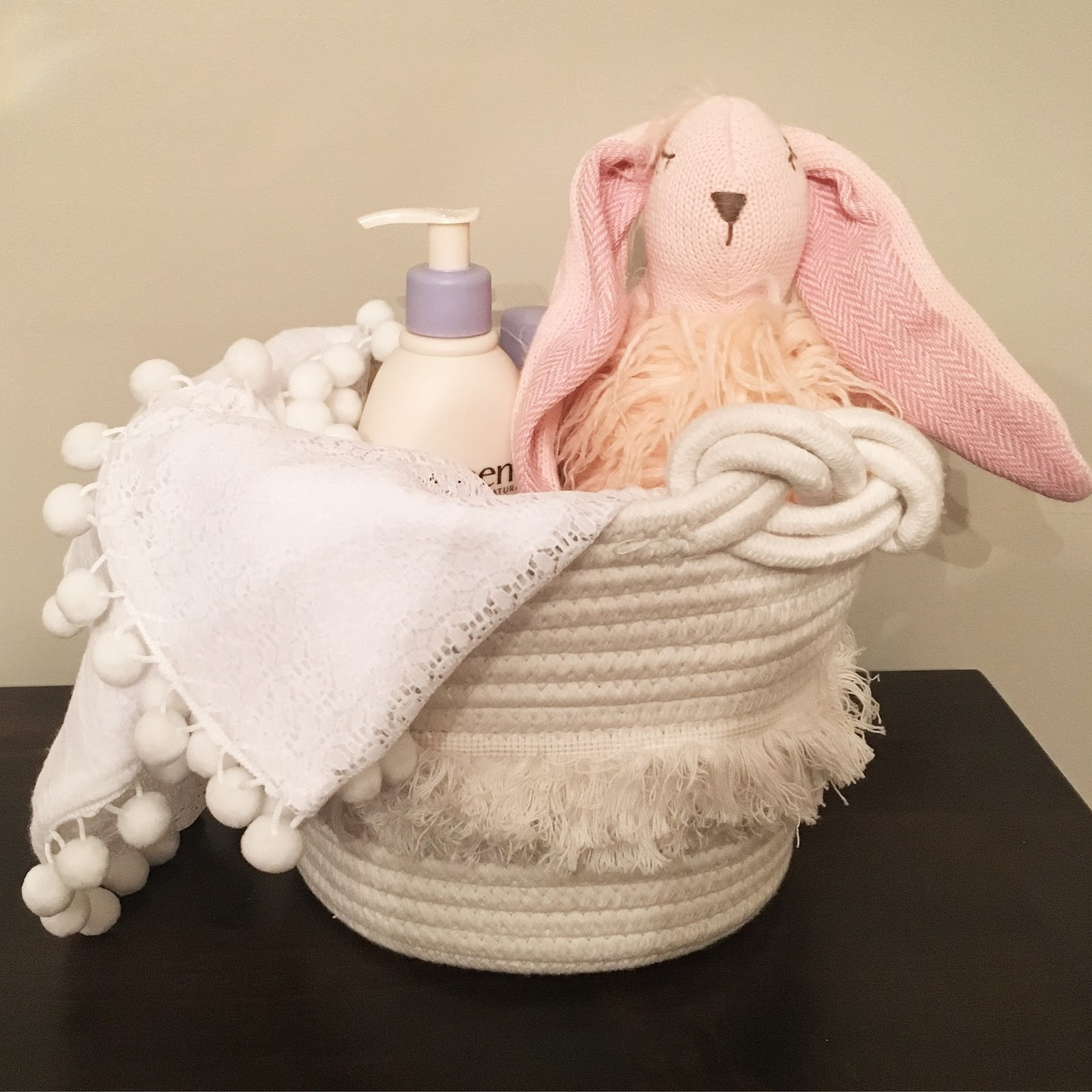 Hello happy hadley babys first easter basket the basket below i found at home goods and added a new baby blanket from lila and rose shop a cute stuffed animal and some baby lotion could complete this negle Images