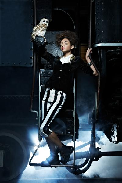 antm steampunk fashion womens clothing models owl train