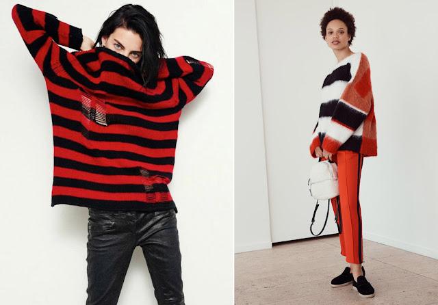 Красный полосатый укороченный свитер оверсайз с кожаными и красными брюками
