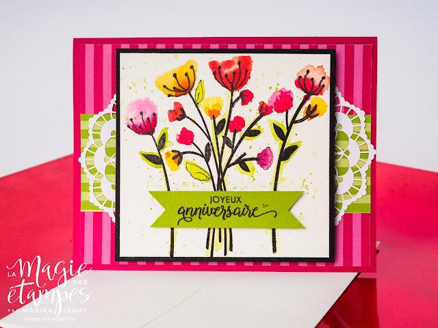 Carte d'anniversaire Stampin' Up! avec le jeu d'étampes fleurs en tous genres