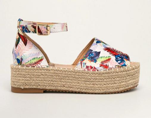 Sandale colorate cu imprimeuri cu talpa groasa moderna de vara