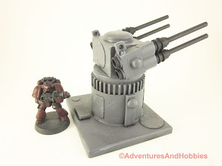 25 to 30mm scale war game scenery weapons gun turret with quad barrel cannons - right side view.