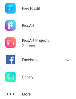 How to add image on PicsArt all option