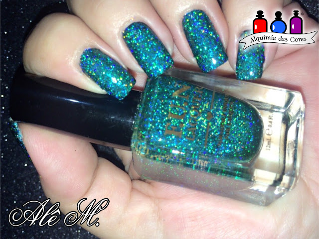 FUN Lacquer, Secret, Teal holographic glitter, 1st Anniversary Collection 2014, Moyra, Dourado, Sugar Bubbles, SB052, Alê M.