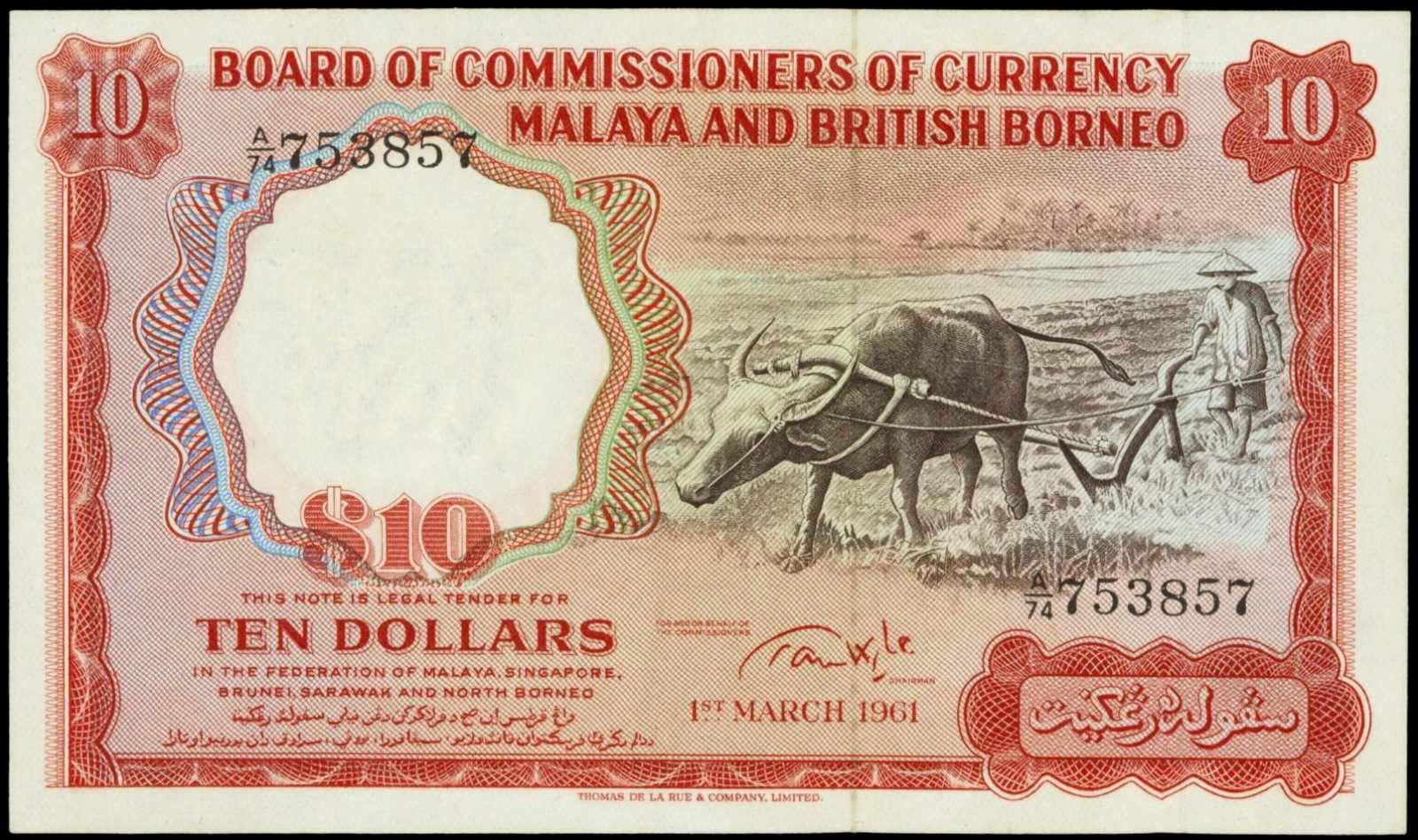Malaya British Borneo banknotes 10 Dollars note 1961 Buffalo