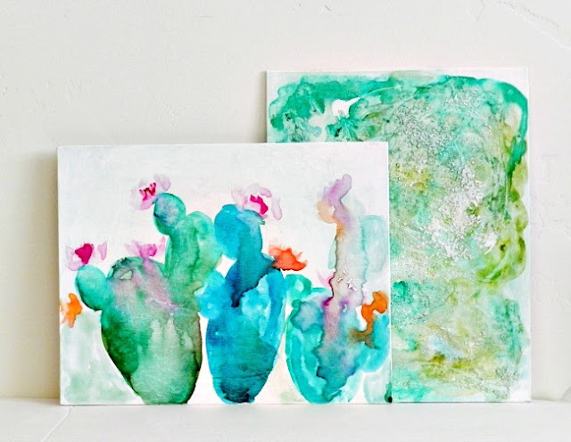 abstract watercolor cactus paintings by Elise Engh