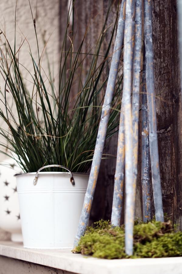 Blog + Fotografie by it's me! - Hauseingang im Februar - Graspflanze in weißem Übertopf