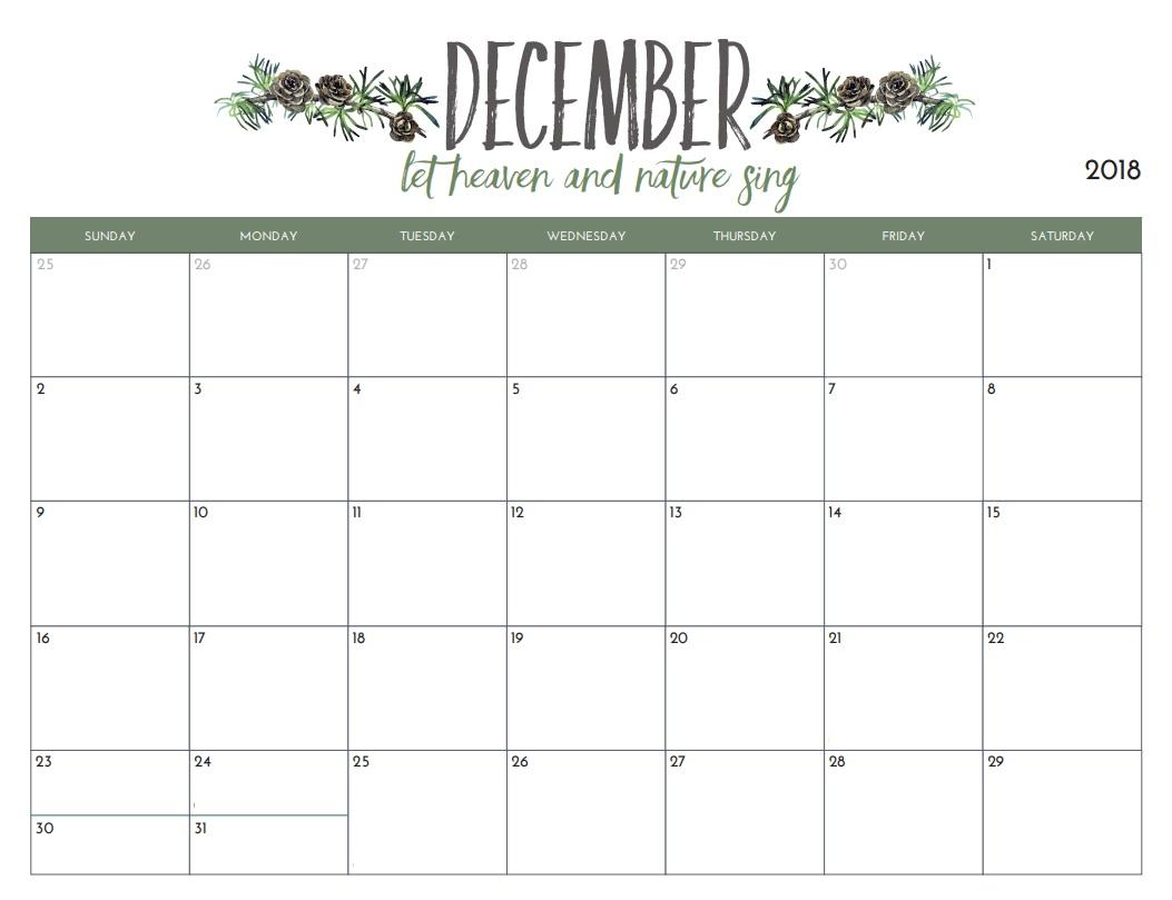 Printable Calendar 2019 Free December 2018 Printable Calendar