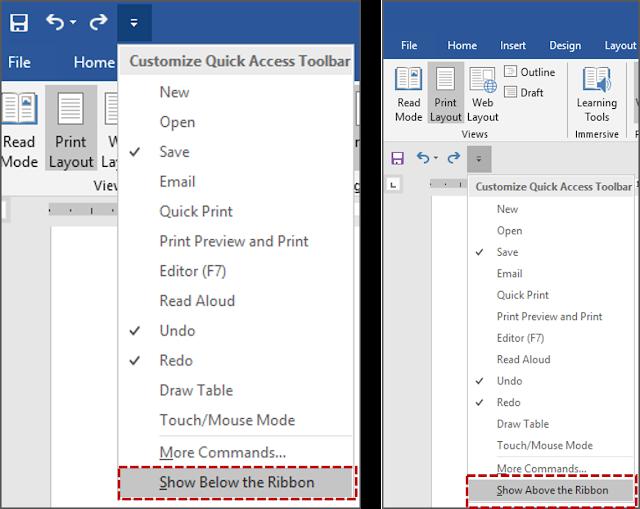 Cara 1 Mengubah Lokasi Quick Access Toolbar