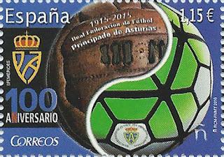 Sello del Centenario de la Federación Asturiana de Fútbol