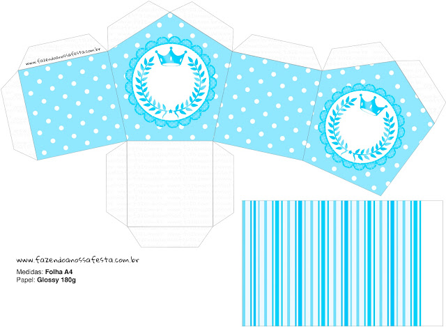 Light Blue Crown in Stripes and Polka Dots  Free Printable House Shaped Box.
