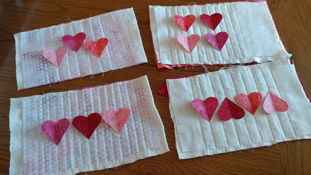 3-D quilted heart mug rugs for Galentine's or Valentine's Day