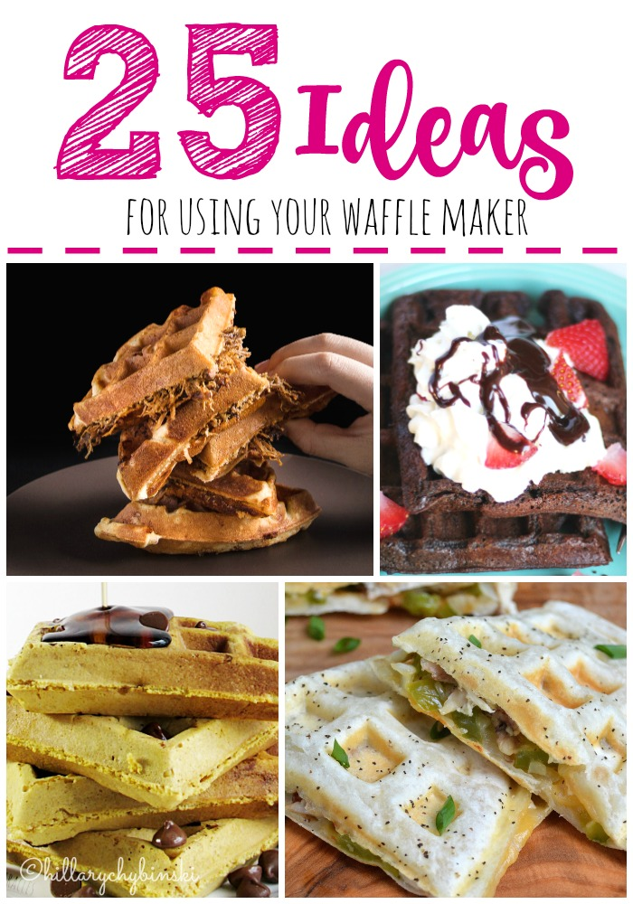 A round-up of 25 ideas for using your waffle maker or waffle iron, including gluten-free and diary and egg free recipes too.