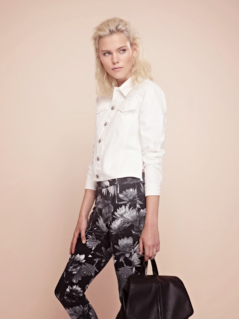 French Connection black floral trousers