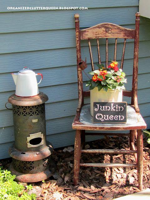 Garden Junk Chair Vignette