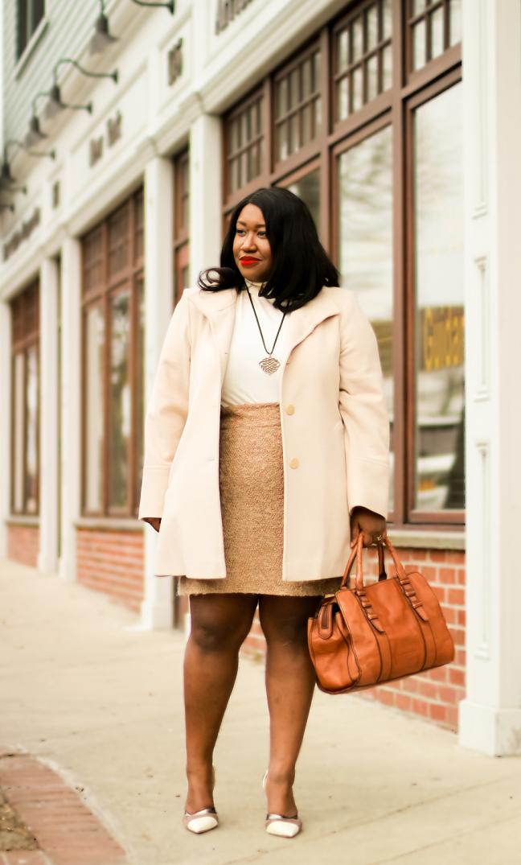 Plus Size Neutral Coat Pencil Skirt Outfit