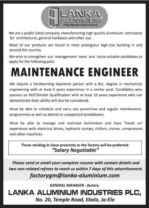 Vacancies] Maintenance Engineer - Lanka Aluminium Industries