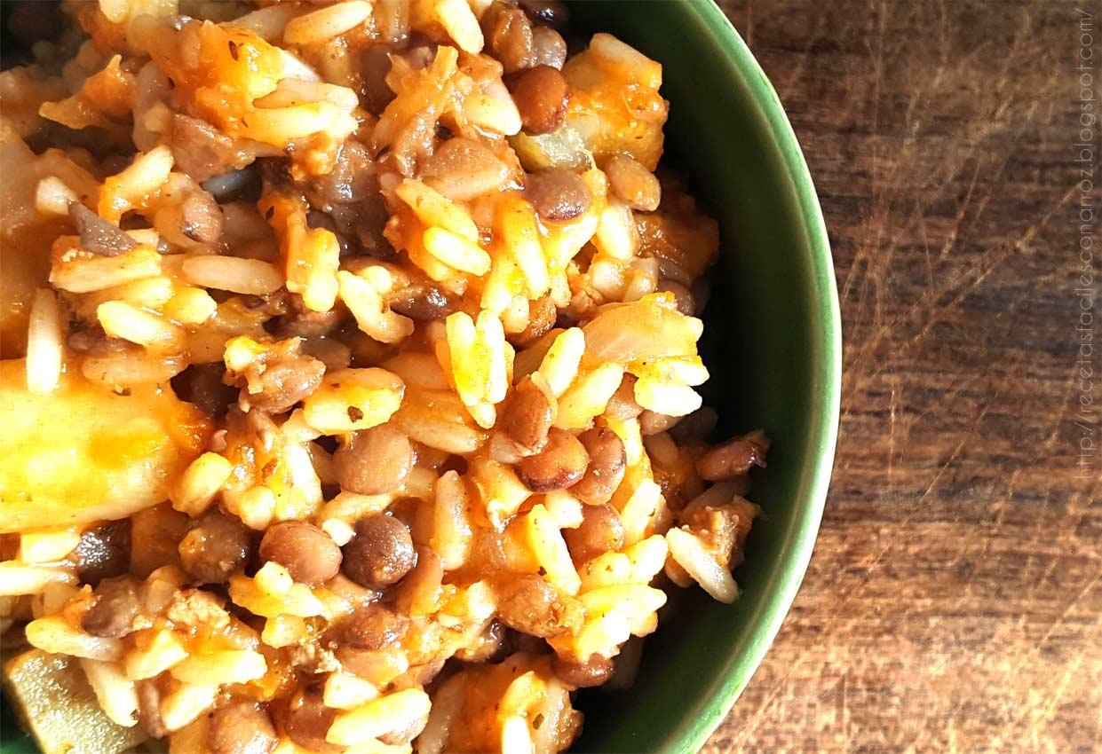 guiso de lentejas y arroz