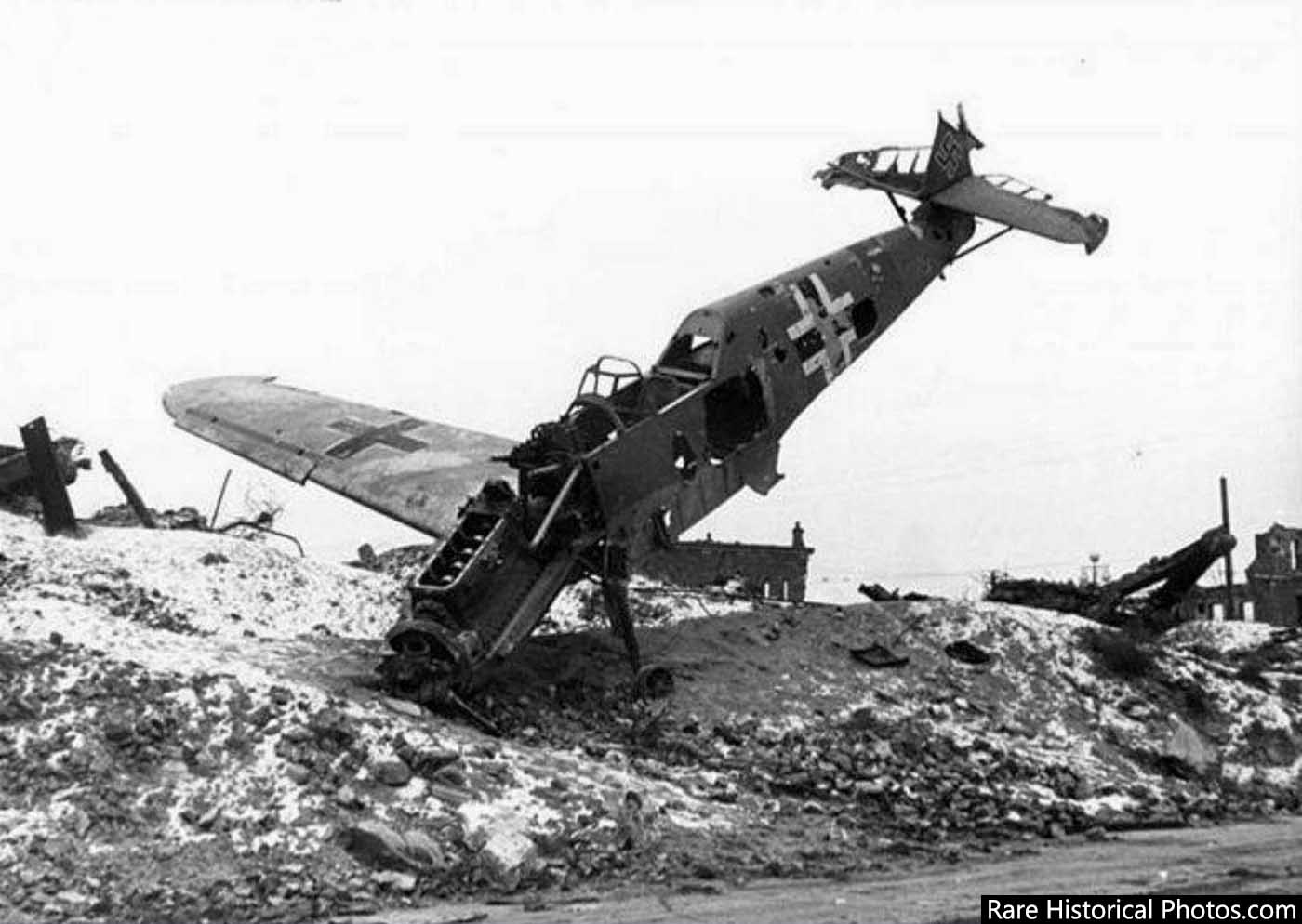 The end of Hitler's dream. A downed German plane in Stalingrad.