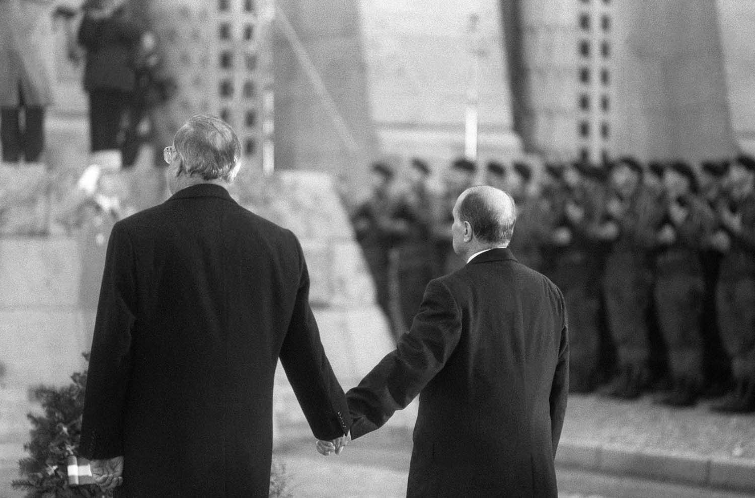 As the national anthems of both countries played, Mitterand and Kohl joined hands – a gesture of friendship symbolizing the lessons learned from a frightful past.