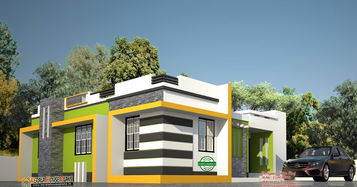 Low cost contemporary style house in kerala kerala house for Low cost house plans in kerala with images