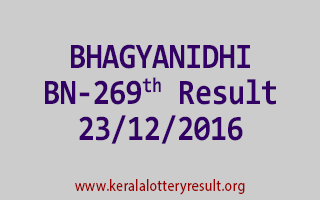 BHAGYANIDHI BN 269 Lottery Results 23-12-2016
