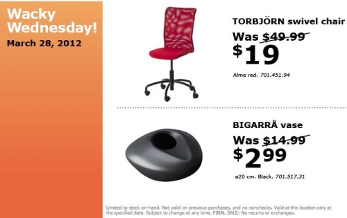 Desk Chair Edmonton Hanging Stand Uk Canadian Daily Deals: Ikea Canada: Wacky Wednesday Deals Specials (mar 28 Only)