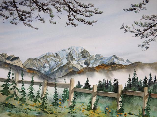 Aquarelle montagne Mont Blanc