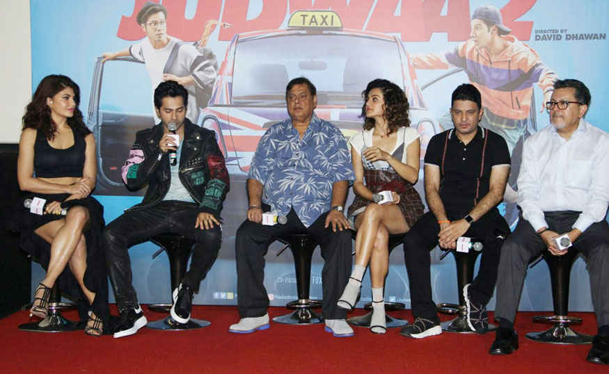 Varun Dhawan, Jacqueline and Taapsee Pannu at Judwaa 2 Trailer Launch