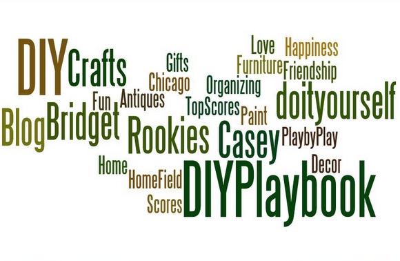 "This DIY word collage, aka ""wordle"" is the one I made for DIY Playbook! You can see our names and some of our favorite things!"