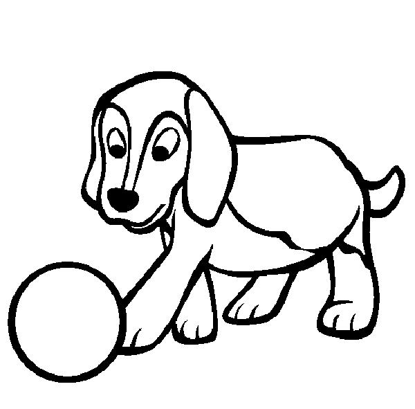 Gambar Mewarnai Binatang Anjing Bermain Bola
