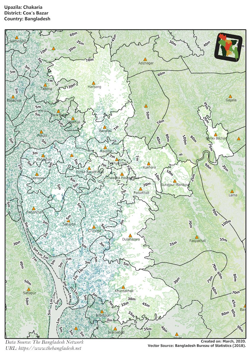 Chakaria Upazila Elevation Map Cox's Bazar District Bangladesh