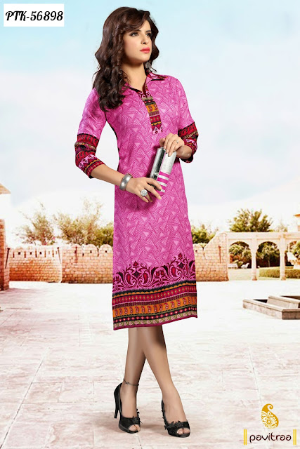 pink color pashmina printed work light weight casual kurti for women in lowest prices with free shipping charges in India