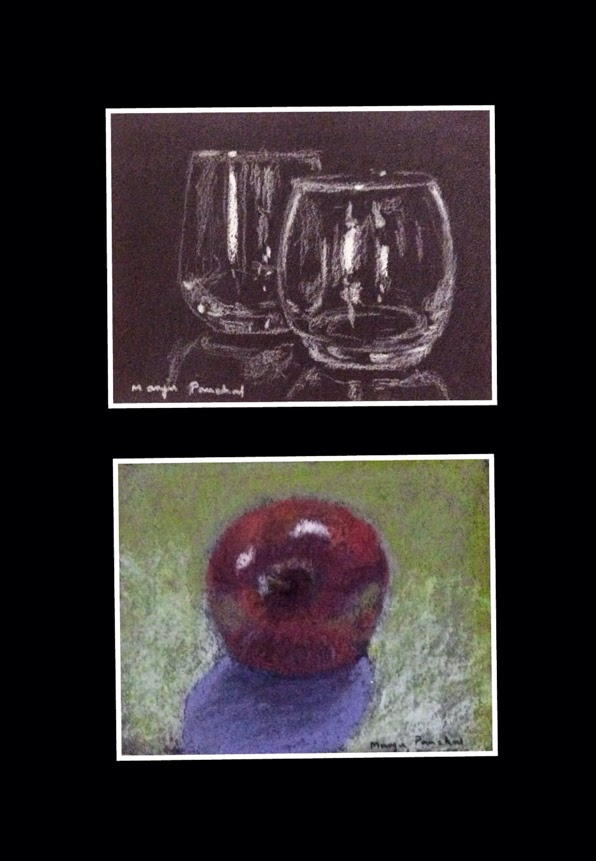 charcoal painting and soft pastel painting by Manju Panchal