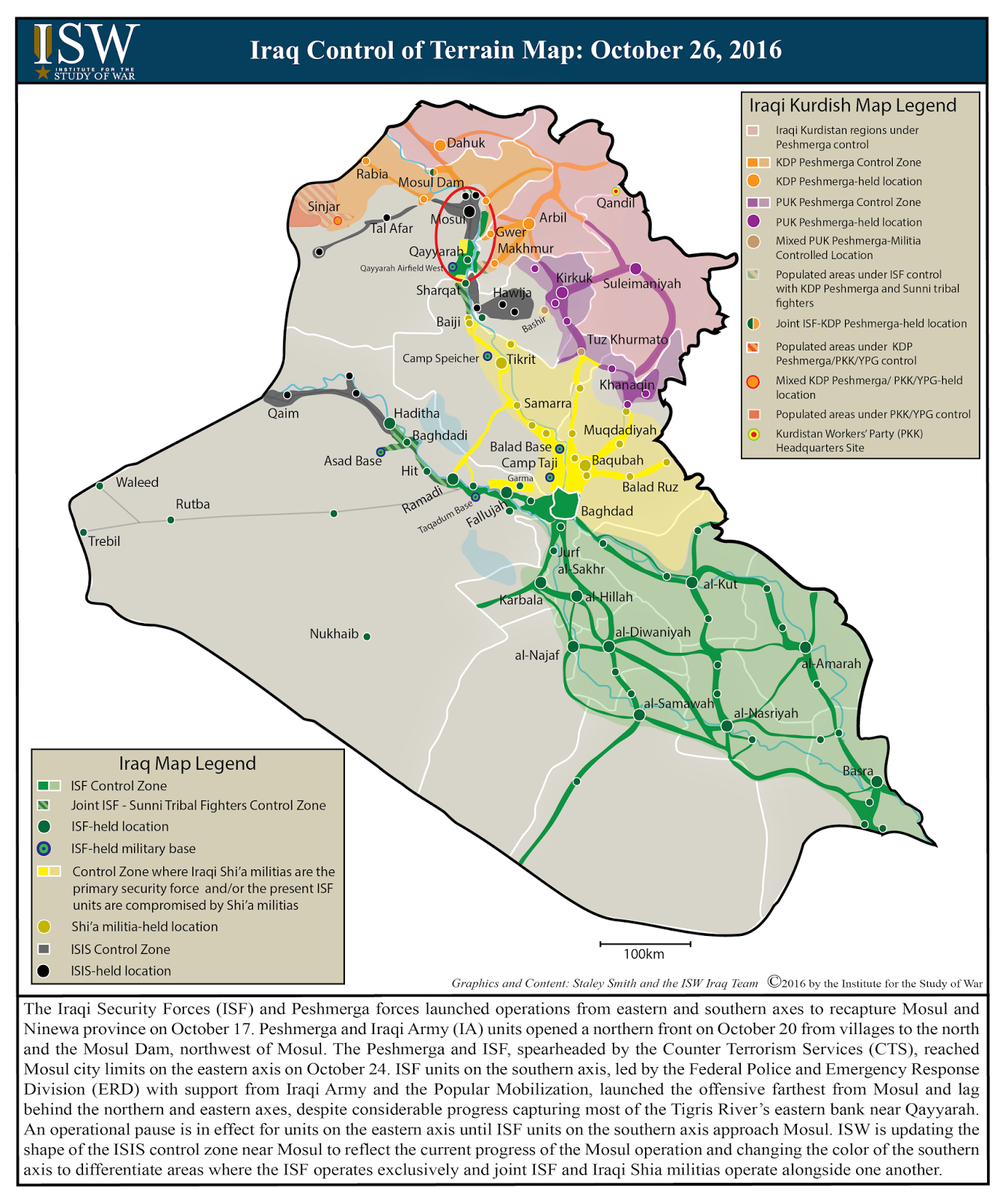 ISW Blog Iraq Control of Terrain Map October 26 2016