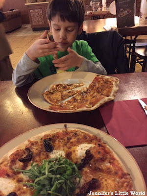 Eating pizza at Center Parcs, Erperheide