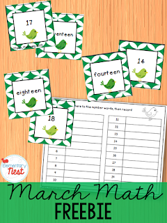 Math FREEBIE for March- matching number words to the teen number