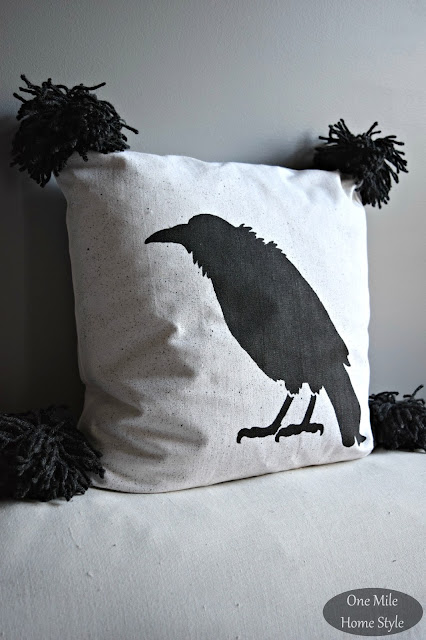 Halloween Crow Stenciled Pillow with Giant Pom-Poms - One Mile Home Style