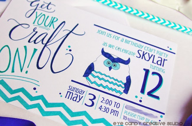chevron owl, birthday invite, craft party invite, get your craft on, birthday theme