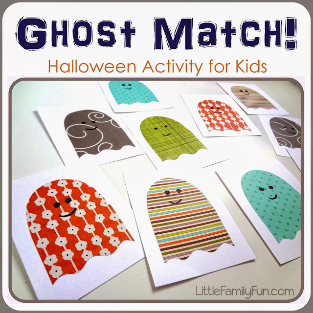 Little family fun ghost matching game for Halloween party games for preschoolers