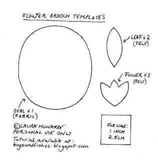 templates for sewing a felt flower brooch