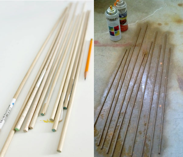 round dowels used to make arrows
