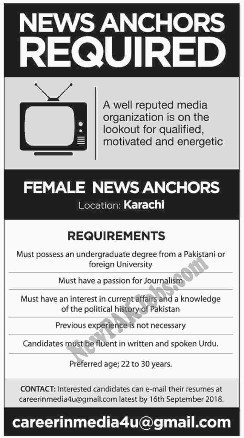 Female News Anchors Jobs in Karachi September 2018 - Under Graduate