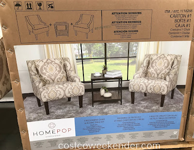 Costco 1118266 - Relax, read a book, or sit by the fire with the Home Pop 3-piece Fabric Chair and Accent Table Set