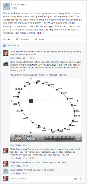 screen snapshot of Facebook chat, with orbital plot